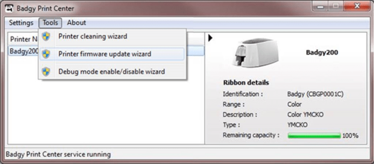 Firmware Update Wizard for Badgy printers