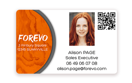 Business card printed with Badgy