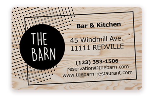 Business card for restaurant printed with Badgy