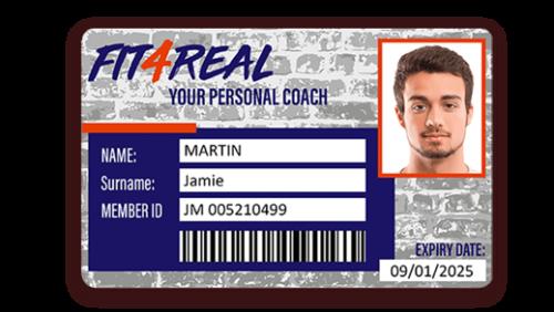 Carte de membre sport avec code barre imprimé avec l'imprimante Badgy