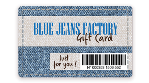 Gift card with barcode printed with Badgy