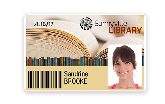 Library card with white edge printed with Badgy